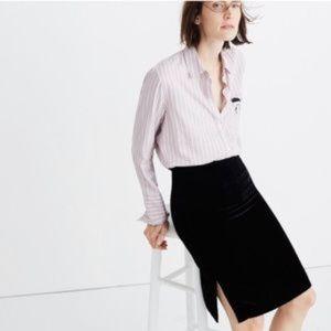 Madewell Black Velvet Pencil Skirt Size 10